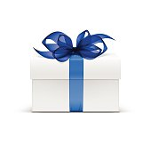 Vector  Box with Blue Ribbon and Bow Isolated on Background