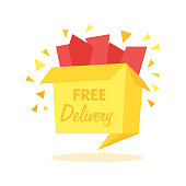 Vector box with free shipping - internet shopping icon