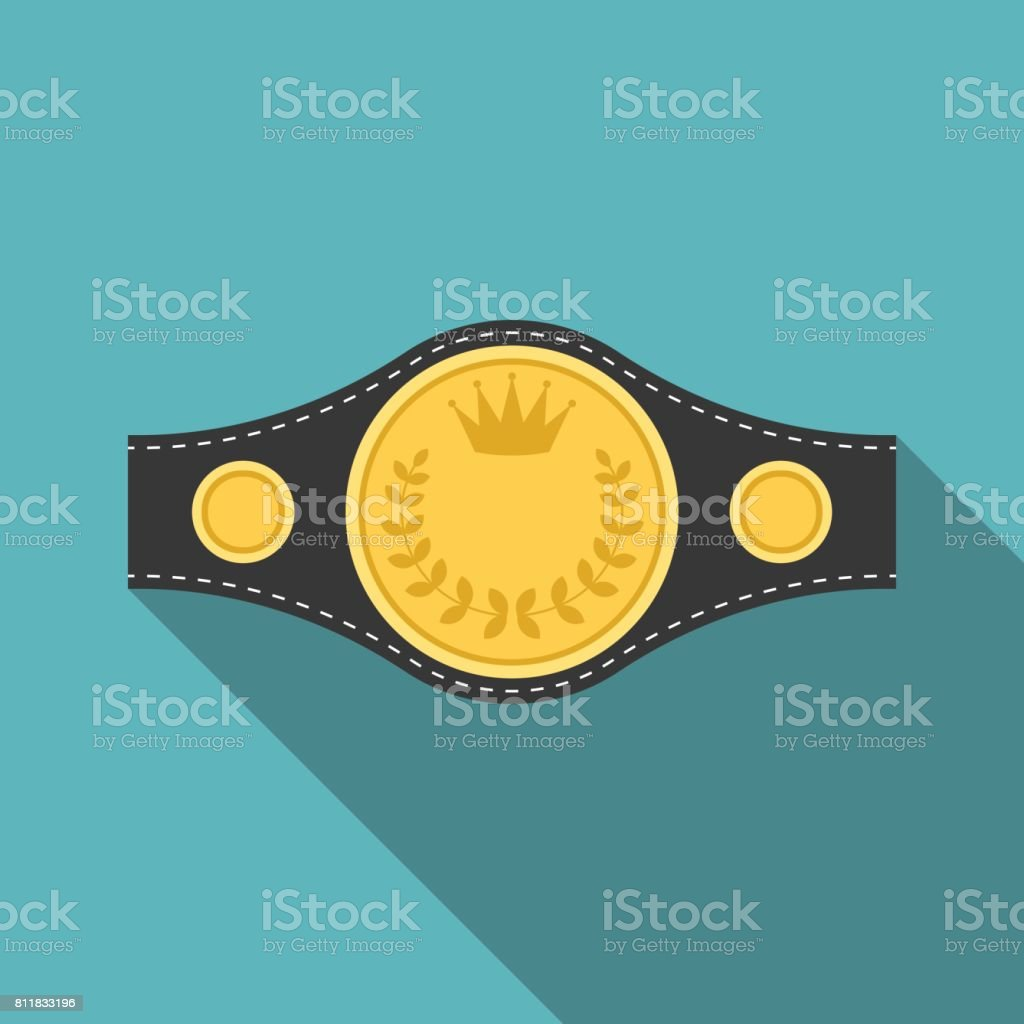 Vector boxing championship belt icon with long shadow vector art illustration