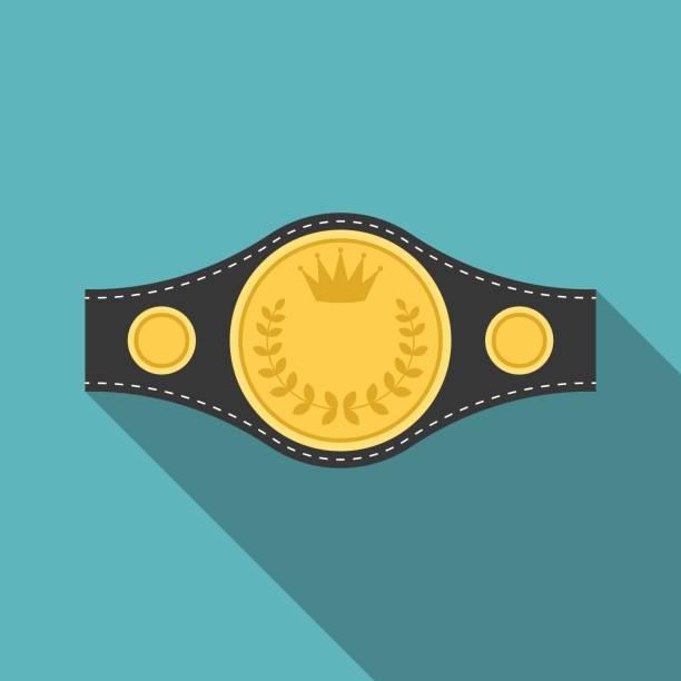 Vector boxing championship belt icon with long shadow – artystyczna grafika wektorowa