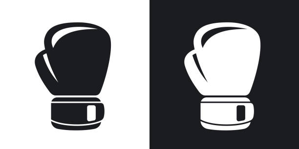 vector boxing glove icon. two-tone version - boxing gloves stock illustrations, clip art, cartoons, & icons