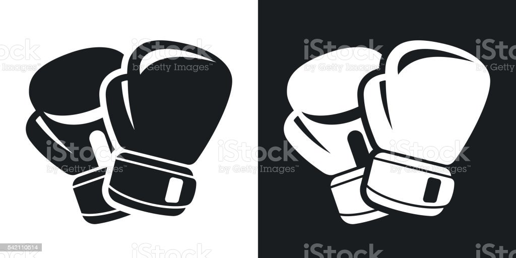 Vector boxing gloves icon. Two-tone version vector art illustration