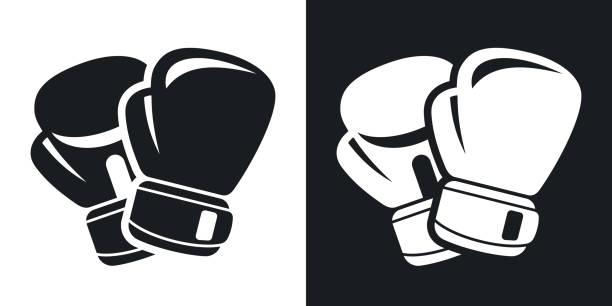 stockillustraties, clipart, cartoons en iconen met vector boxing gloves icon. two-tone version - bokshandschoen