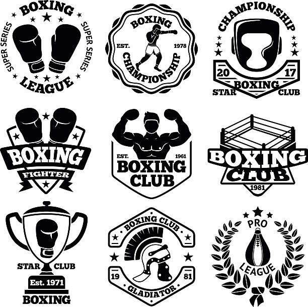 Vector Boxing labels set with - boxer, helmet, gladiator, goblet vector art illustration