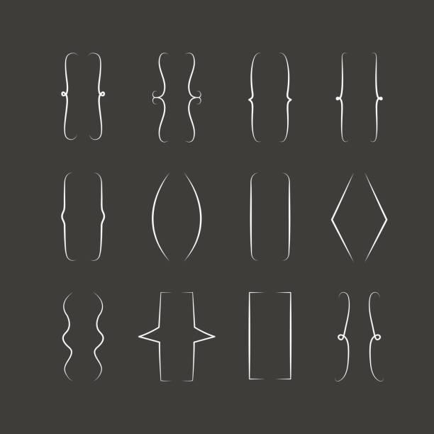 vektor zahnspange zeichen, geschweiften klammern symbolsatz. handgezeichnete simp - manschetten stock-grafiken, -clipart, -cartoons und -symbole