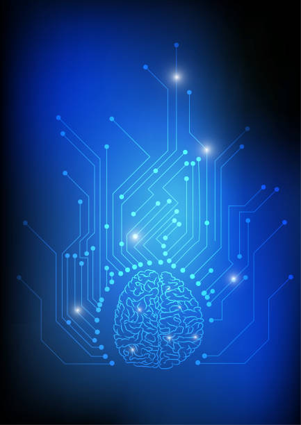 Vector : Brain and electronic circuit on blue background vector art illustration