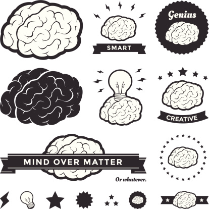 Vector Brain Badges and Label Collection
