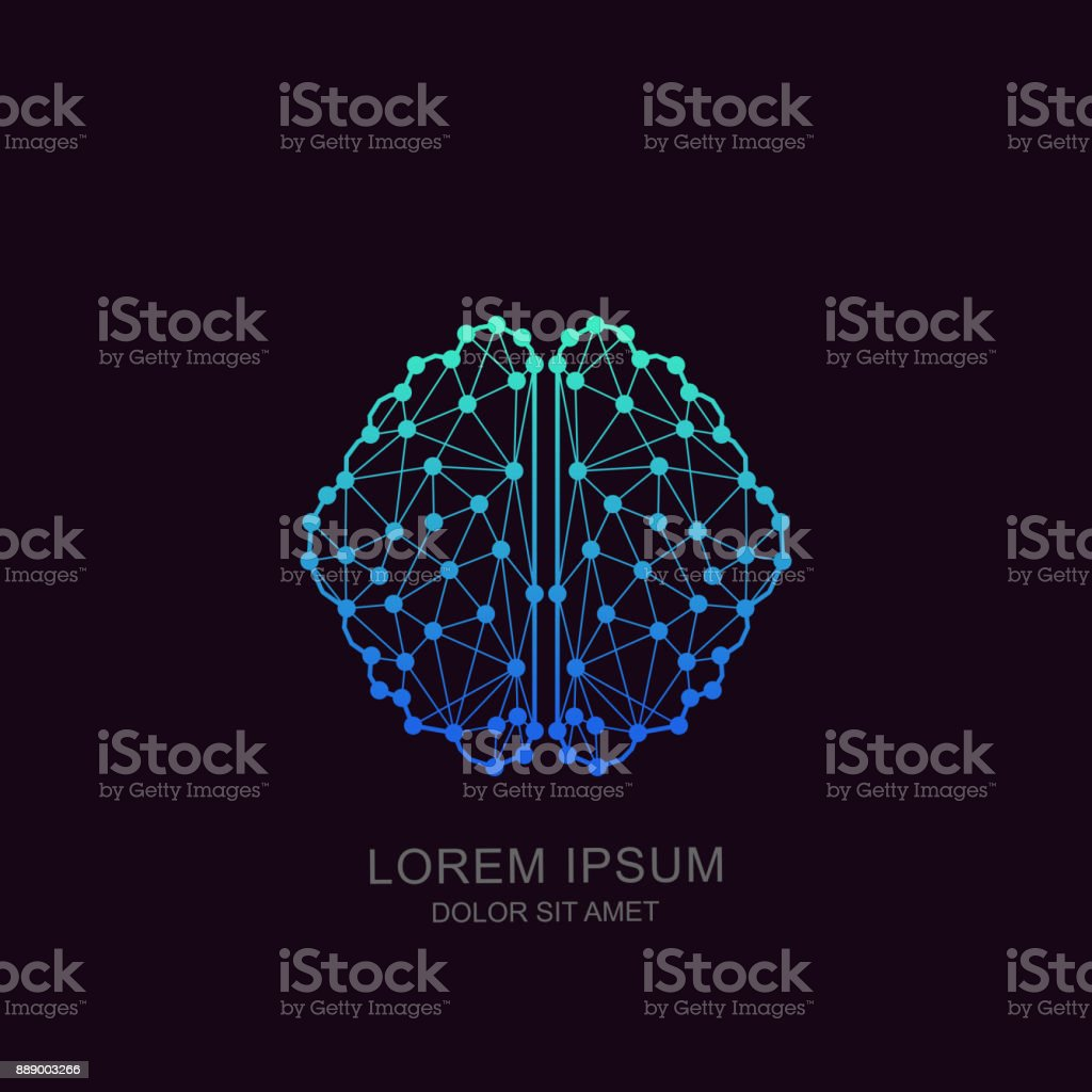 Vector brain icon, emblem design. Concept for neural networks, artificial intelligence, education, high technology - ilustração de arte vetorial
