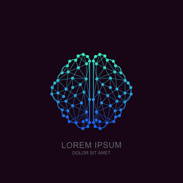 Vector brain icon, emblem design. Concept for neural networks, artificial intelligence, education, high technology vector art illustration