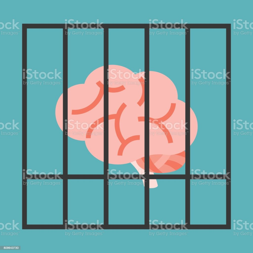 Vector brain in cage vector art illustration