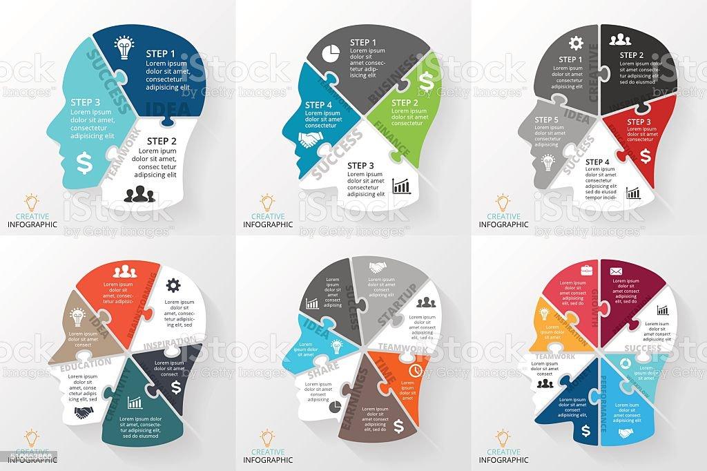 Ilustración de Vector De De Infografía Rompecabezas Cerebrales ...