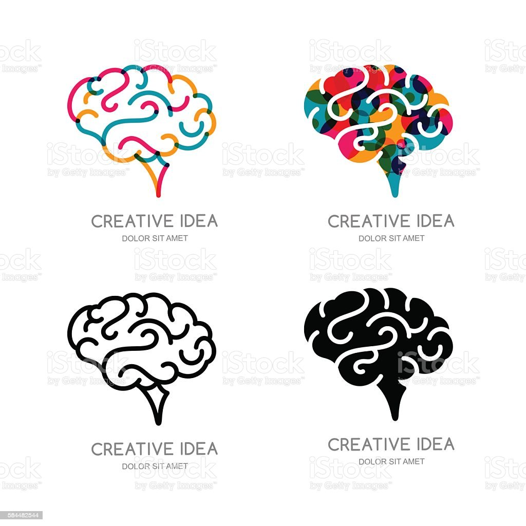 Vector brain sign, or emblem design elements. Outline human brain. - ilustración de arte vectorial