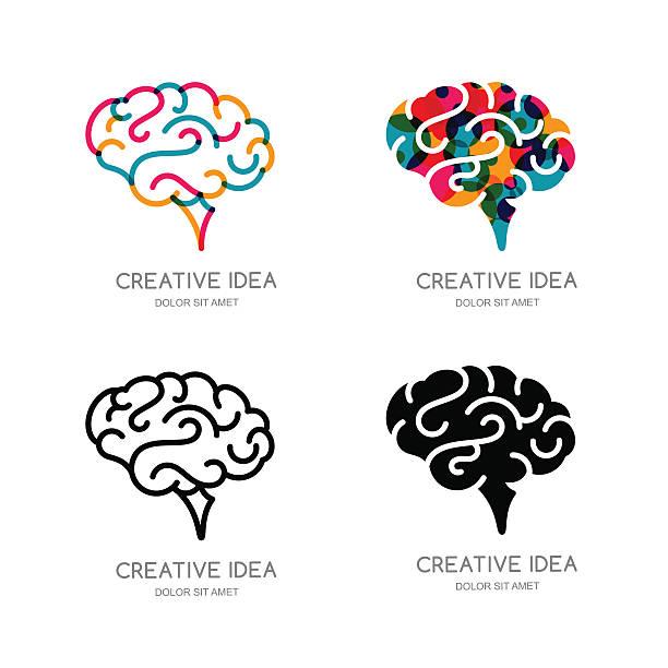 Vector brain sign, or emblem design elements. Outline human brain. vector art illustration