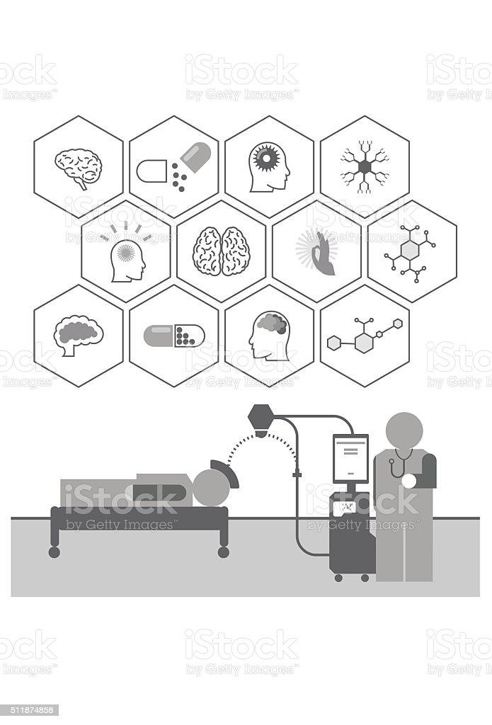 Vector Brain Stimulation Icons vector art illustration
