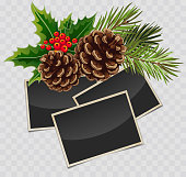 Vector branch of Christmas tree with pine cone and retro photo frames with transparent shadows