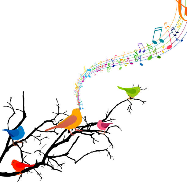 Vector Branch with Singing Birds vector art illustration