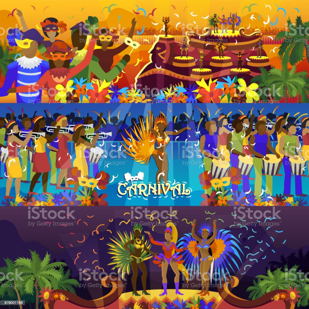 Vector brazil carnival rio festival celebration brazilian girls dancers samba party carnaval traditional costume south holiday dancer illustration banner vector art illustration