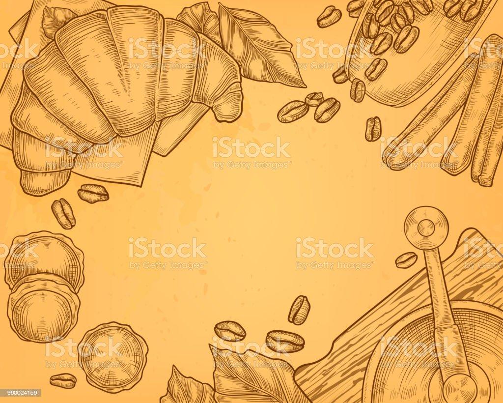 Vector breakfast concept, hand drawn coffee, croissant vector art illustration