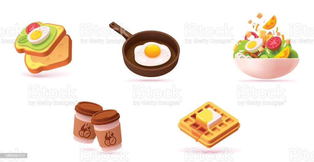 Vector breakfast icon set vector art illustration