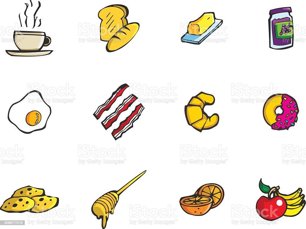 Vector breakfast snack icon set vector art illustration
