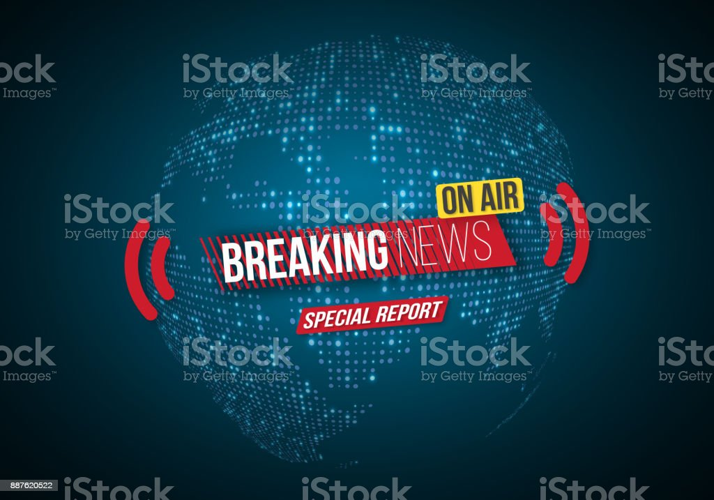 Vector Breaking News Banner. Broadcast News Design. News Report Template On  Glowing Planet Background