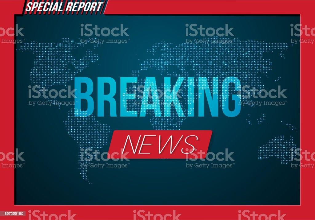 vector breaking news banner broadcast news design template on