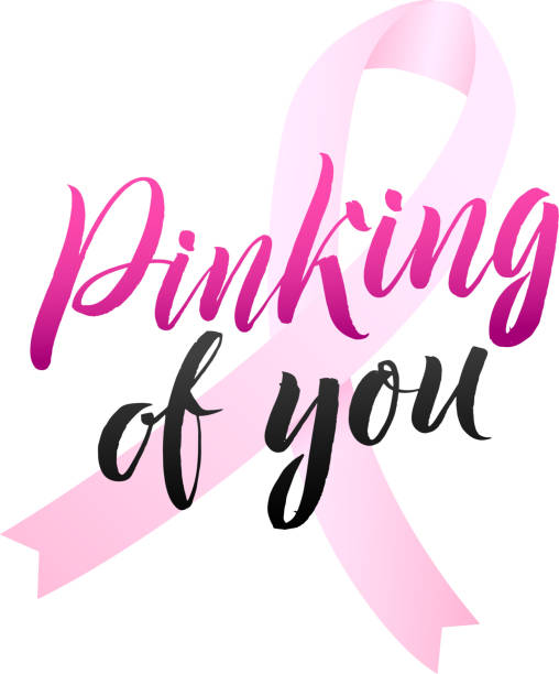 vector breast cancer awareness calligraphy poster design. stroke pink ribbon. october is cancer awareness month - breast cancer awareness stock illustrations