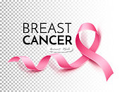 Vector breast cancer awareness poster pink ribbon