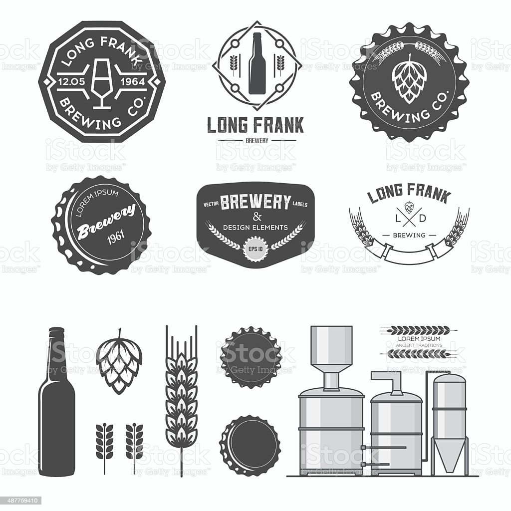 Vector brewery labels. vector art illustration