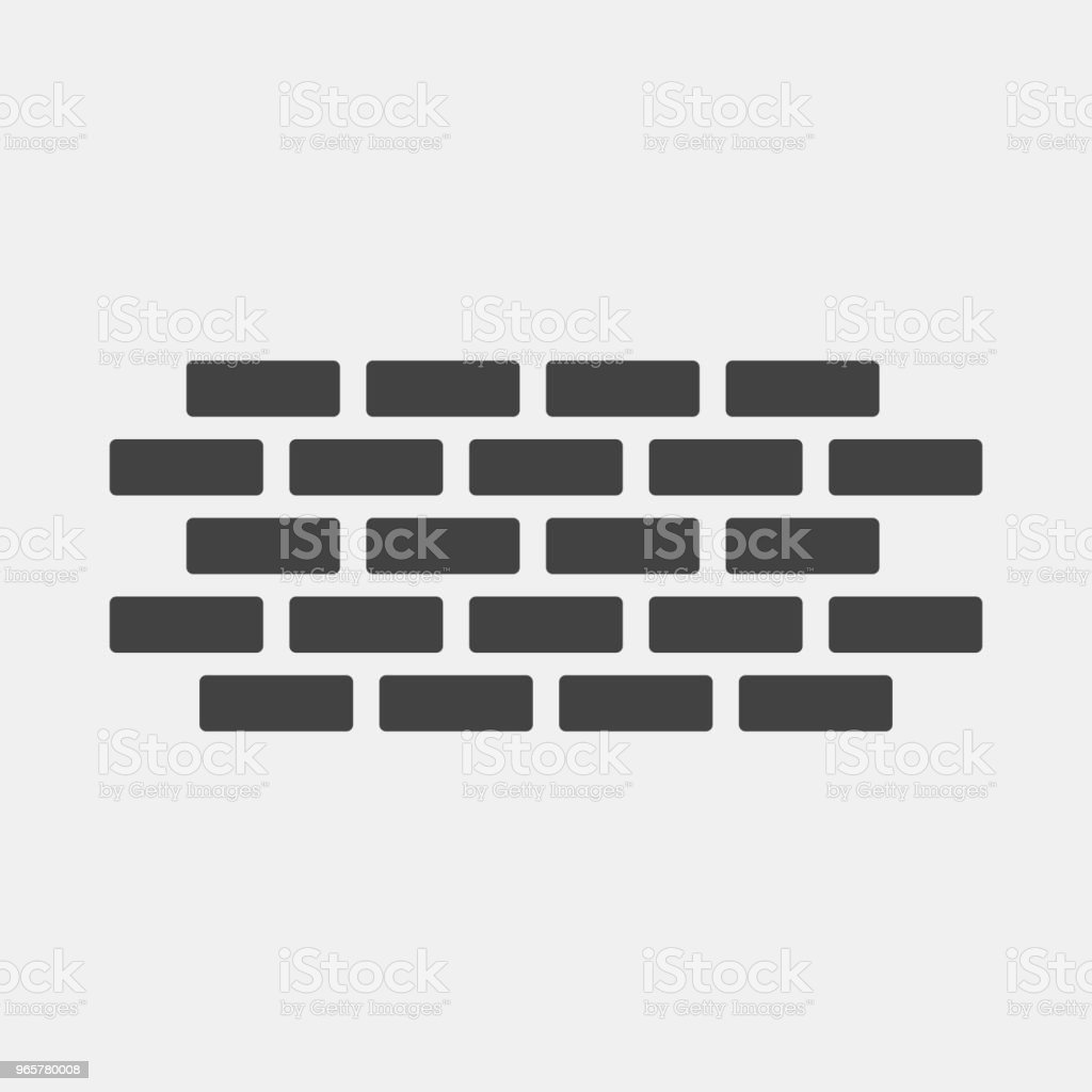 Vector brick icon. Illustration of brickwork. Brick wall on a gray background - Royalty-free Architecture stock vector