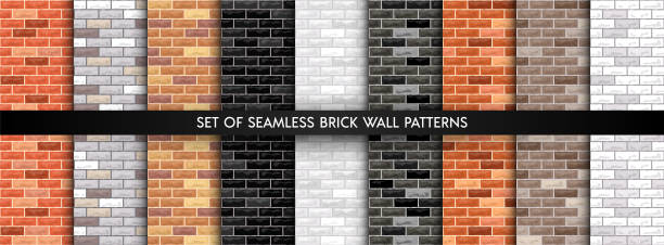 vector brick wall set - brick texture stock illustrations