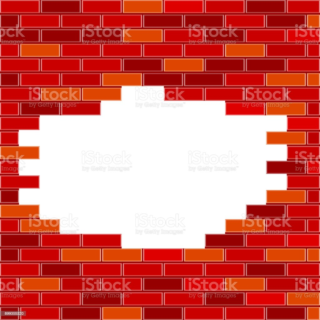royalty free hole in brick wall clip art vector images rh istockphoto com Brick Wall Background Old Brick Walls