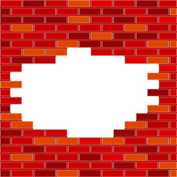 Vector Brick Wall with Hole and Sample Text - Red vector art illustration