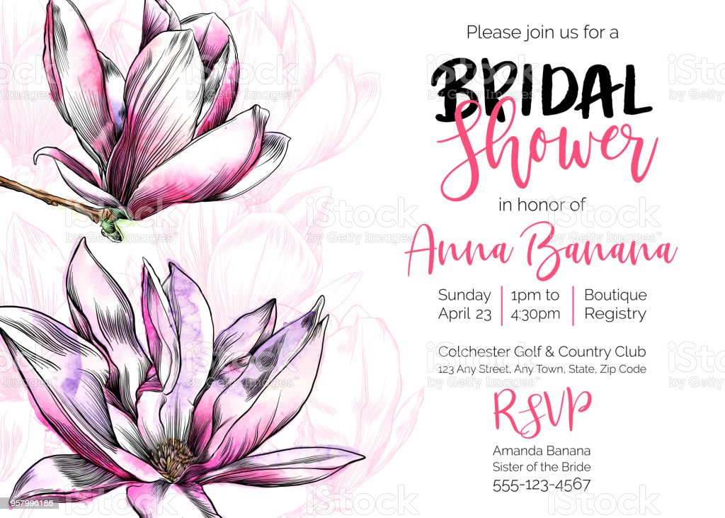vector bridal shower invitation template with magnolia flowers watercolor and pen and ink elements royalty