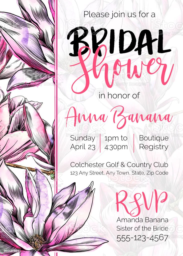 vector bridal shower invitation with magnolia flowers watercolor and pen and ink elements royalty