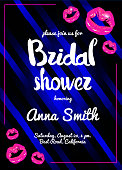 Vector bridal shower night party poster illustration with shining pink lips.