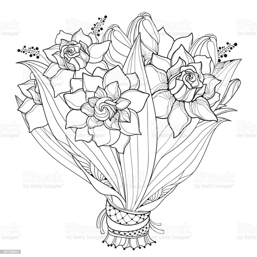 Vector bride bouquet with outline gardenia flower bud and ornate vector bride bouquet with outline gardenia flower bud and ornate leaf in black isolated on izmirmasajfo