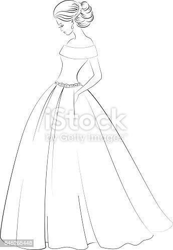 vector bride model contour outline illustration of pretty