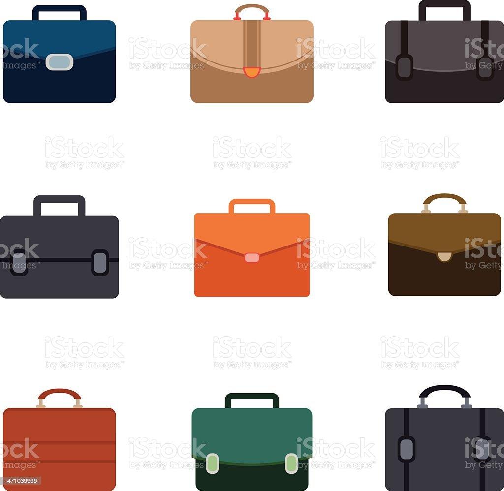 Vektor-Aktentasche-icons set auf weißem Hintergrund – Vektorgrafik