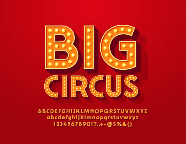 vector bright banner big show with vintage alphabet - circus stock illustrations