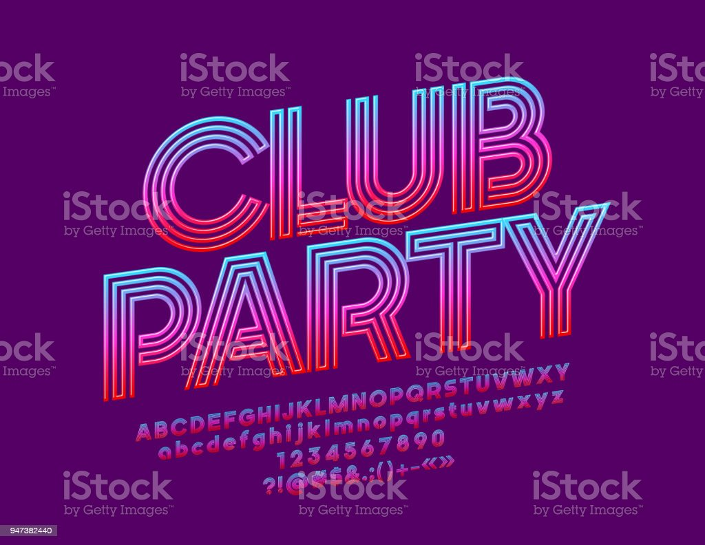 Vector bright banner Club Party with Gradient color Font royalty-free vector bright banner club party with gradient color font stock illustration - download image now