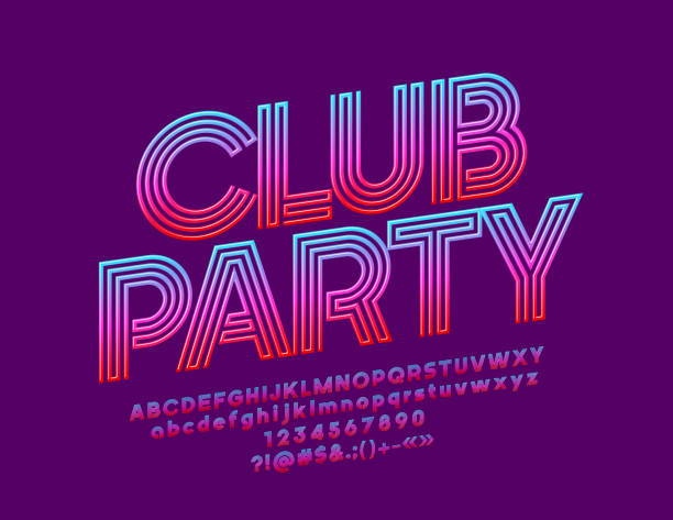 vector bright banner club party with gradient color font - dyskoteka stock illustrations
