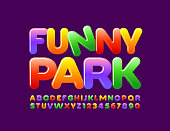 Vector bright Banner Funny Park. Colorful Alphabet Letters and Numbers