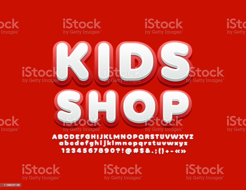 Vector Bright Banner Kids Shop With Trendy Font Red And White