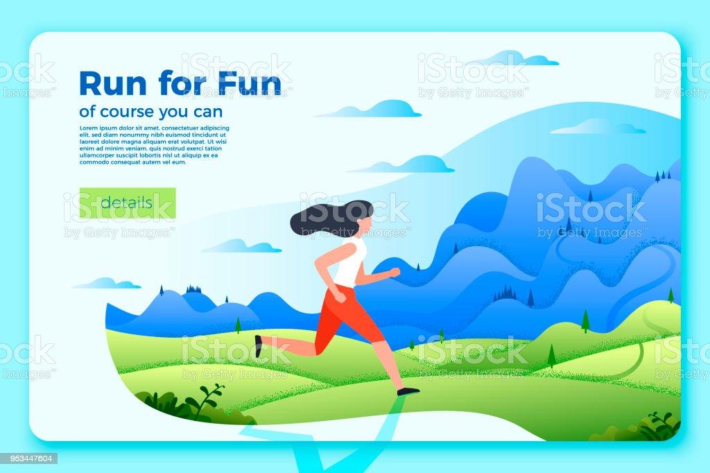 Vector Bright Banner Template With Running Girl Stock Vector Art