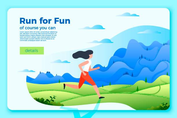bildbanksillustrationer, clip art samt tecknat material och ikoner med vector ljusa banner mall med rinnande flicka - jogging hill
