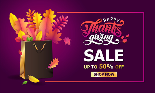 Vector bright bouquet of autumn fallen leaves in golden gift paper shopping bag in frame. Thanksgiving sale Up to 50 off