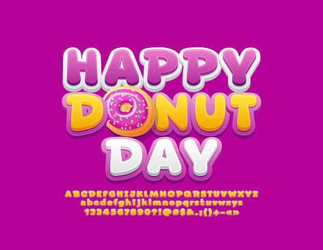 Vector bright card Happy Donut Day with funny Alphabet Letters, Numbers and Symbols