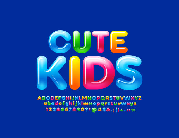 Vector bright emblem Cute Kids. Gradient color Glossy Alphabet Letters, Numbers and Symbols Candy style Font jello stock illustrations