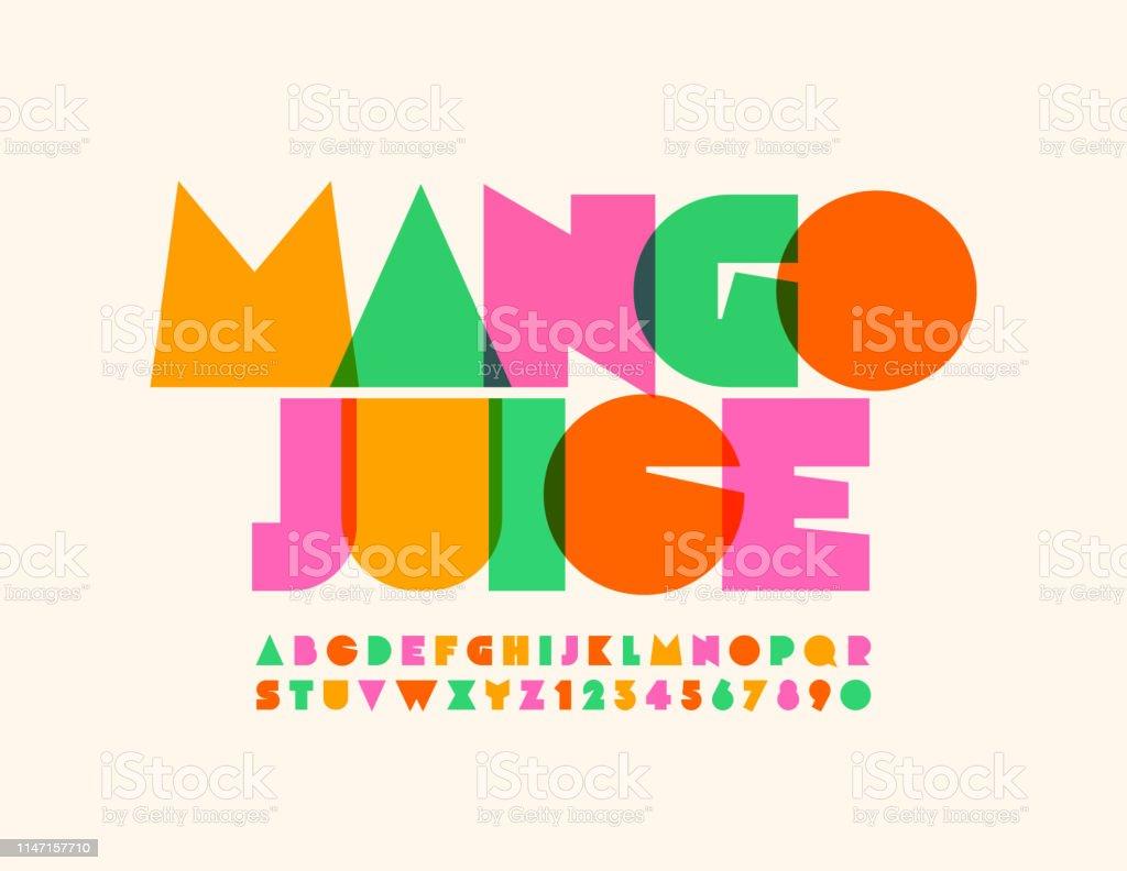 Vector bright emblem Mango Juice with transparent creative Alphabet - Royalty-free Abstrato arte vetorial